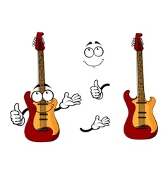 Smiling cartoon guitar character with arms vector