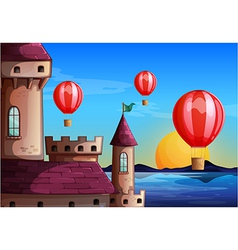 Floating balloons near the castle vector