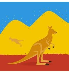 Australian kangaroo outdoors vector