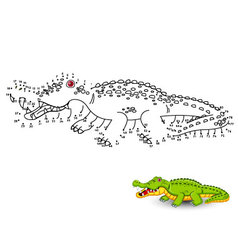 Crocodile connect the dots and color vector