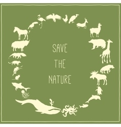 Concept green poster with animals silhouettes vector