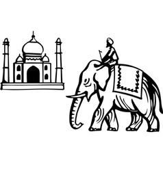 Taj mahal and indian elephant vector
