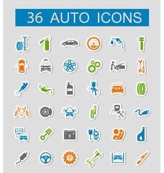 Set of car service icons stickers style vector