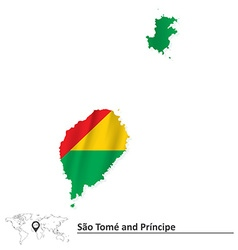 Map of sao tome and principe with flag vector