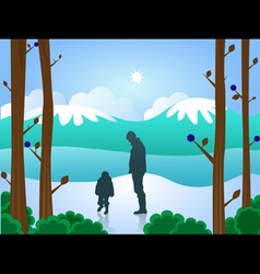 Man and boy in snow vector