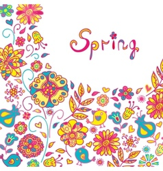Figure spring flowers colorful background vector