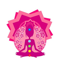 Yoga woman silhouette in lotus pose padmasana with vector