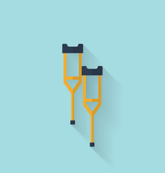 Woodent crutch flat icon health care vector