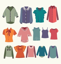 Womens shirts and colorful female t-shirts vector