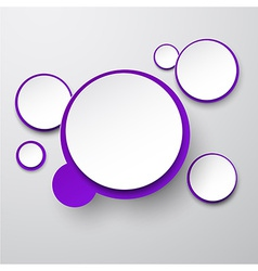 Paper white-violet round speech bubbles vector