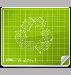Recycle symbol blueprint icon vector