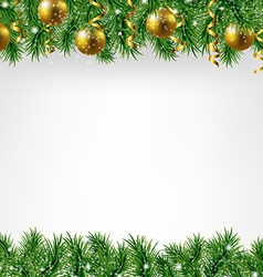 Xmas fir tree border with colden balls vector