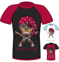 T-shirt with rottweiler dog pirate vector
