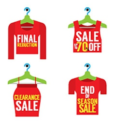 Woman clothes on hanger with sale tag vector