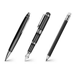 Pencil pen fountain pen vector