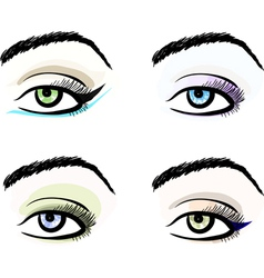 Eye make up stylized pattern sketches set vector