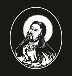 Jesus praying vector