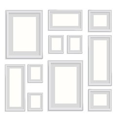 Blank picture frame template set isolated on wall vector
