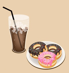 A delicious iced coffee with glazed donuts vector
