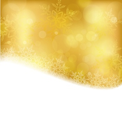 Golden christmas background with blurry lights vector