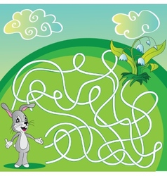 Maze labyrinth game for children with hare vector