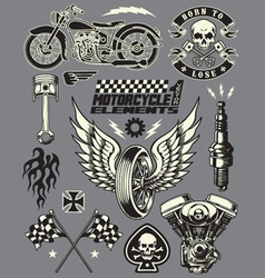Set of vintage motorcycle elements vector