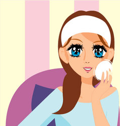 Manga girl putting on makeup vector