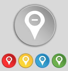 Minus map pointer gps location icon sign symbol on vector