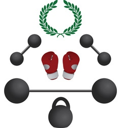 Weights and boxer gloves fourth variant vector