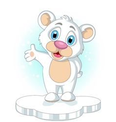 Cute little polar bear cartoon rising his hand vector