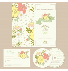 Spring wedding invitation card vector