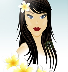 Oriental girl and white flowers vector