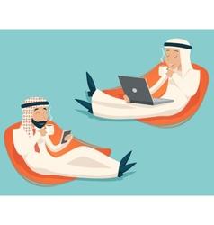 Arab businessman chat laptop mobile phone drink vector