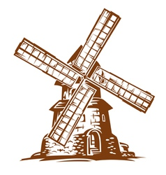 Ancient wind mill vector
