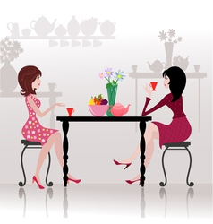 Girls chatting cafe vector