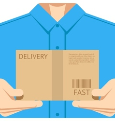 Delivery courier postal man delivering package vector