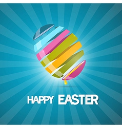 Blue easter background with 3d abstract egg vector