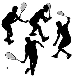 Squash players silhouette vector