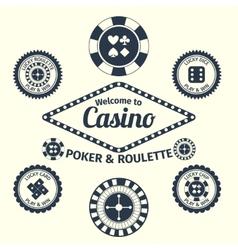 Casino emblems set vector