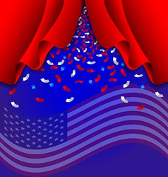 Ribbon fall from curtain for independence day usa vector
