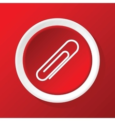 Paperclip icon on red vector