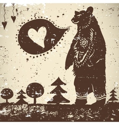 Wild animal background bear with a heart vector
