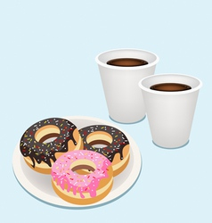 A hot coffee in disposable cup with glazed donuts vector