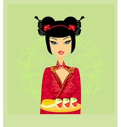 Beautiful woman enjoys sushi card vector
