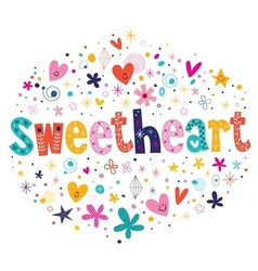 Sweetheart typography lettering decorative text vector