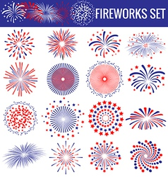 Set of beautiful fireworks for independence day vector