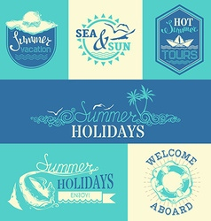 Set of summer labels and emblems vector