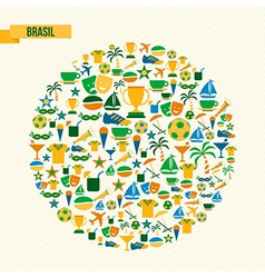 Brazil soccer icons set shape circle vector