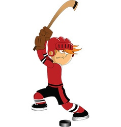 Hockey player shooting puck vector