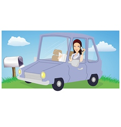 Woman chatting in car vector